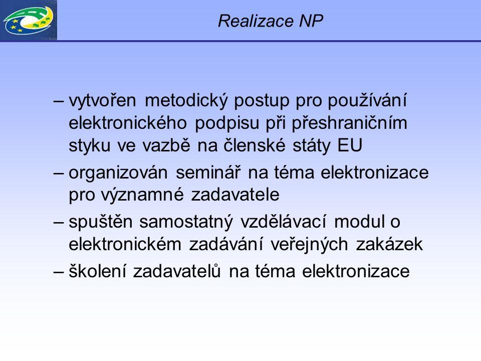 Realizace NP –vytvořen metodický postup pro používání elektronického podpisu při přeshraničním styku ve vazbě na členské státy EU –organizován seminář na téma elektronizace pro významné zadavatele –spuštěn samostatný vzdělávací modul o elektronickém zadávání veřejných zakázek –školení zadavatelů na téma elektronizace