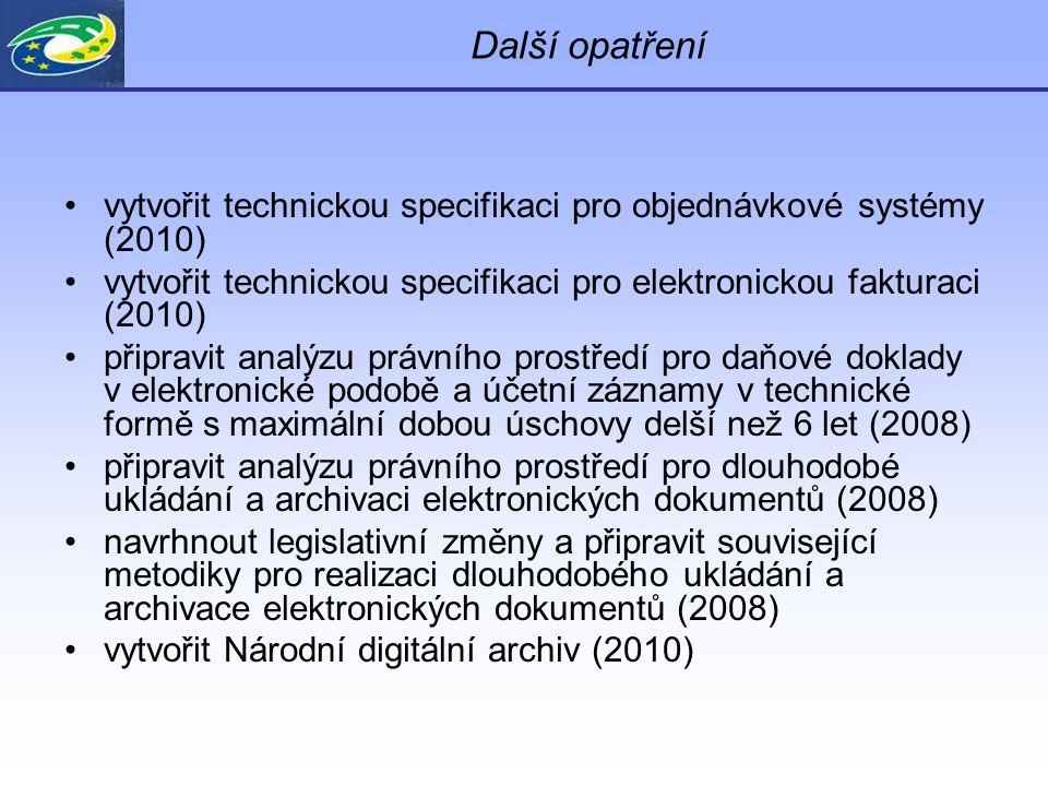 Další opatření vytvořit technickou specifikaci pro objednávkové systémy (2010) vytvořit technickou specifikaci pro elektronickou fakturaci (2010) připravit analýzu právního prostředí pro daňové doklady v elektronické podobě a účetní záznamy v technické formě s maximální dobou úschovy delší než 6 let (2008) připravit analýzu právního prostředí pro dlouhodobé ukládání a archivaci elektronických dokumentů (2008) navrhnout legislativní změny a připravit související metodiky pro realizaci dlouhodobého ukládání a archivace elektronických dokumentů (2008) vytvořit Národní digitální archiv (2010)