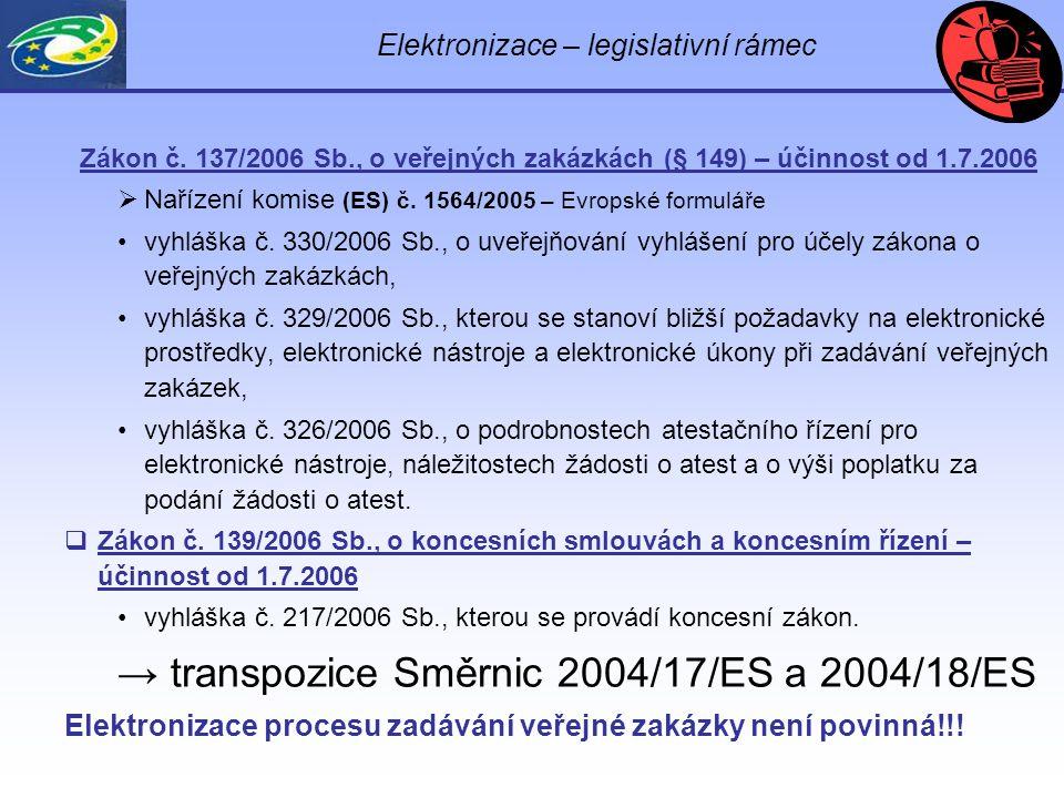 Elektronizace – legislativní rámec Zákon č.