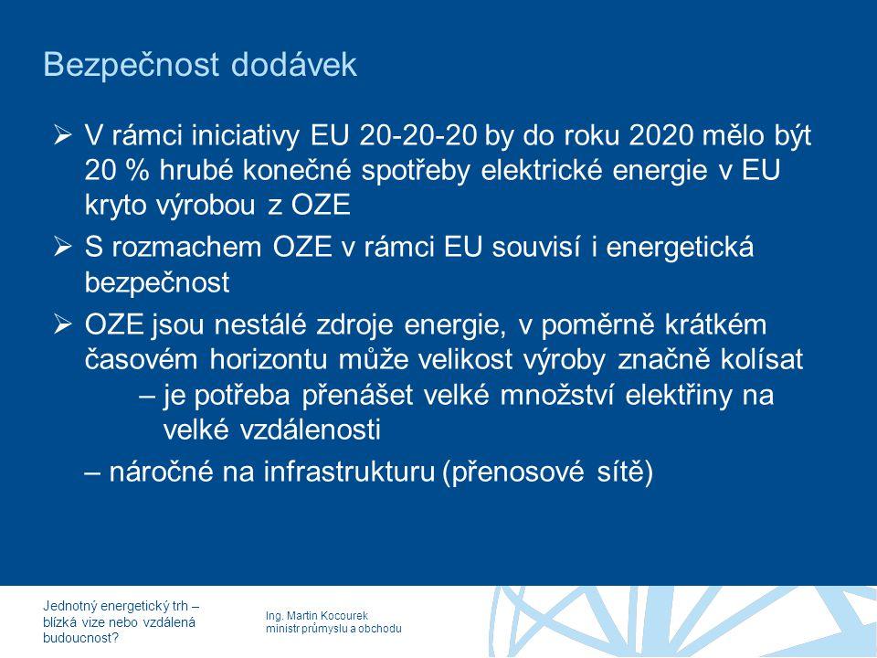 Ing. Martin Kocourek ministr průmyslu a obchodu Jednotný energetický trh – blízká vize nebo vzdálená budoucnost? Bezpečnost dodávek  V rámci iniciati