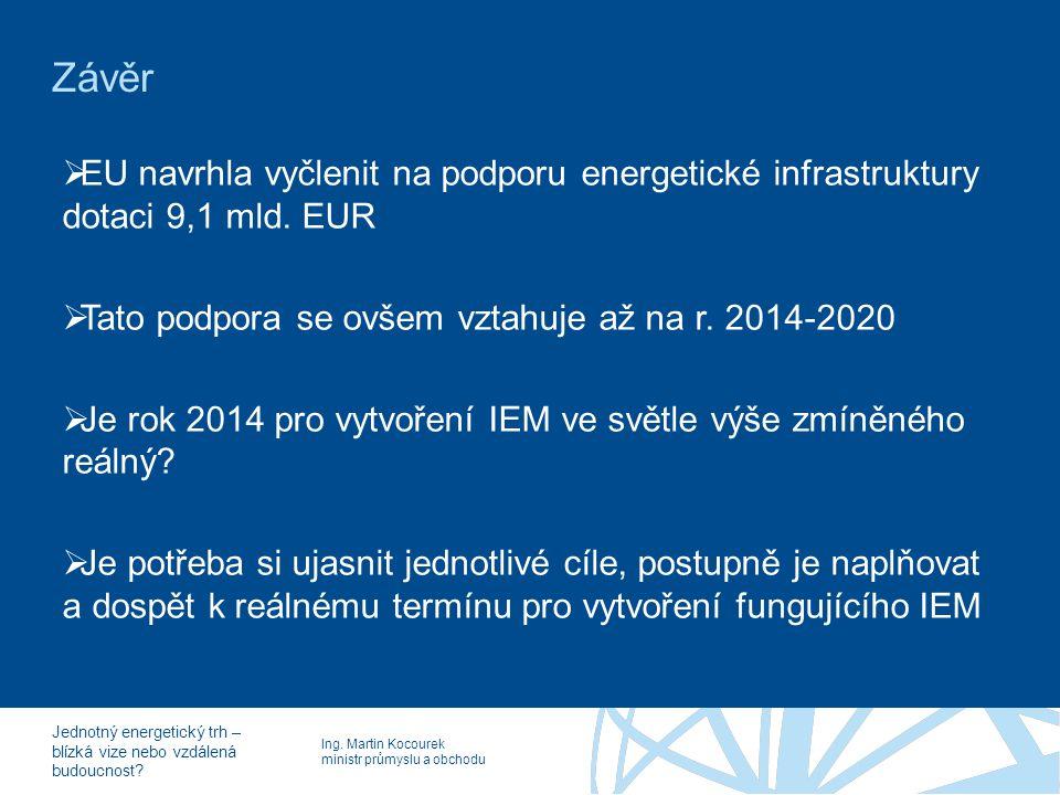 Ing. Martin Kocourek ministr průmyslu a obchodu Jednotný energetický trh – blízká vize nebo vzdálená budoucnost? Závěr  EU navrhla vyčlenit na podpor