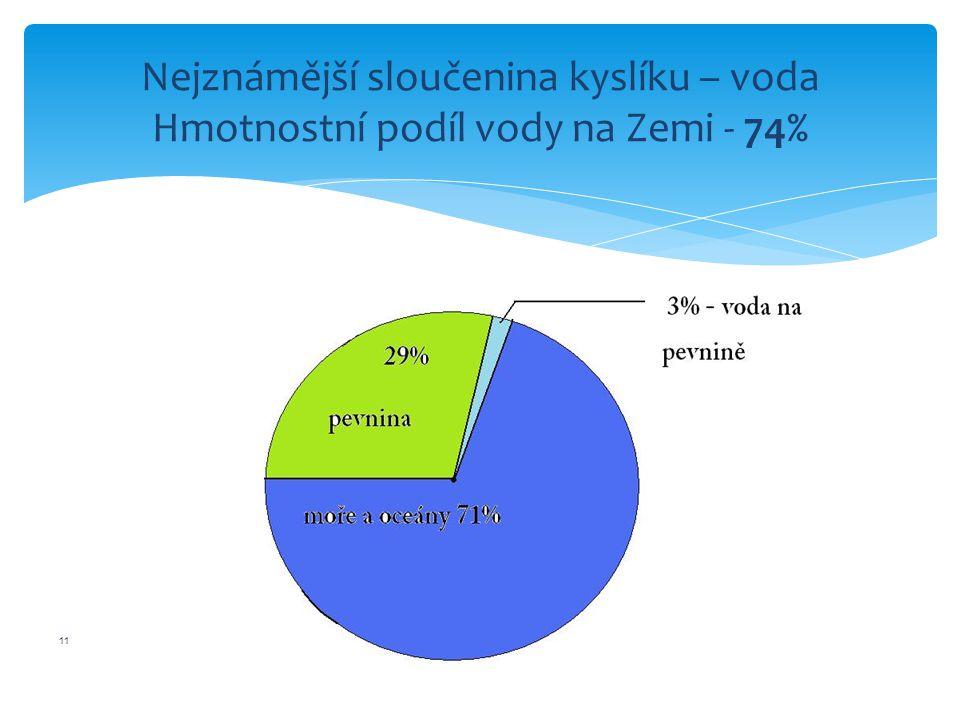 12 Hmotnostní podíl kyslíku v lidském těle - 62%
