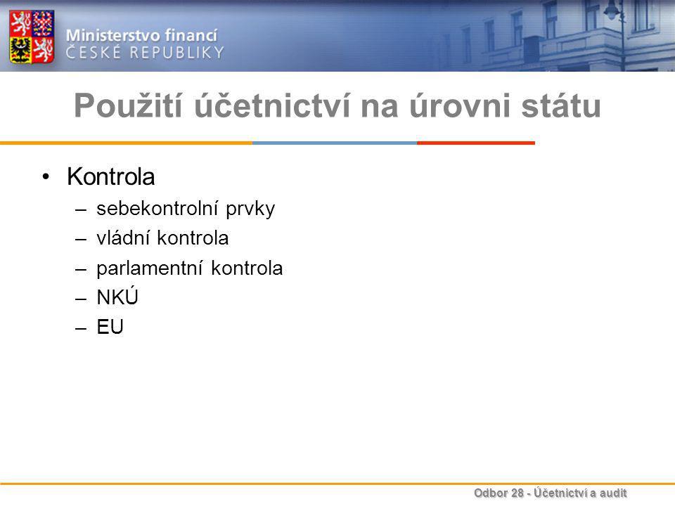 Odbor 28 - Účetnictví a audit Použití účetnictví na úrovni státu Kontrola –sebekontrolní prvky –vládní kontrola –parlamentní kontrola –NKÚ –EU