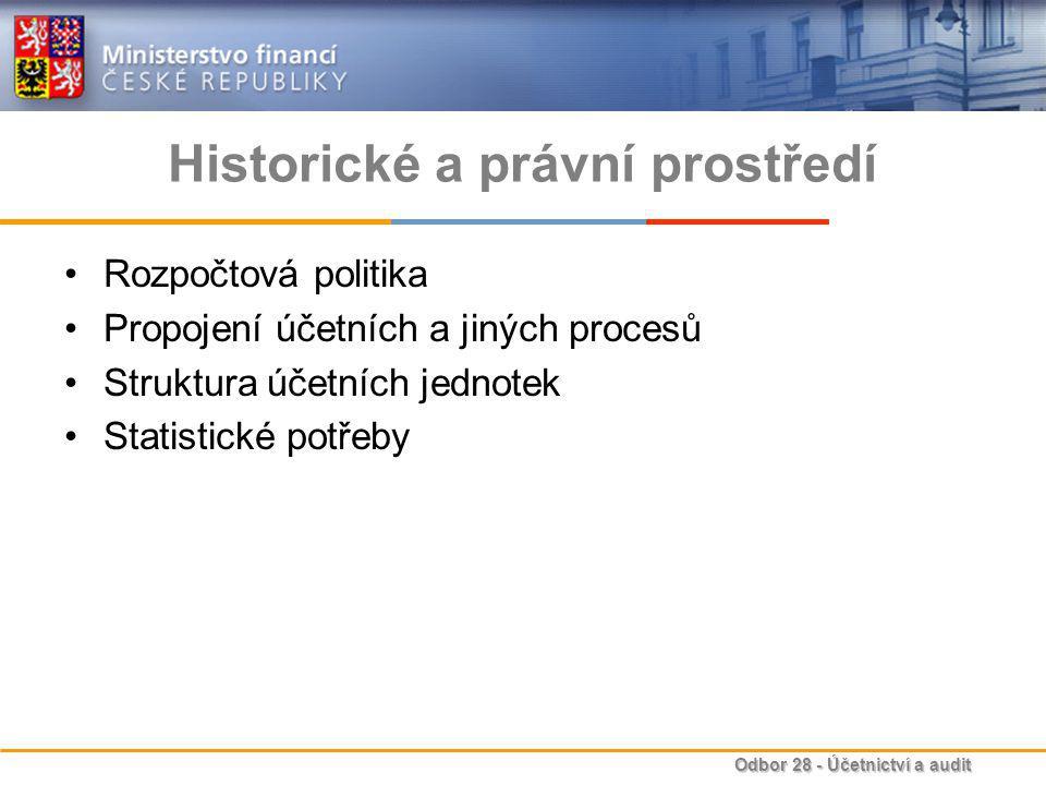 Odbor 28 - Účetnictví a audit Historické a právní prostředí Rozpočtová politika Propojení účetních a jiných procesů Struktura účetních jednotek Statistické potřeby