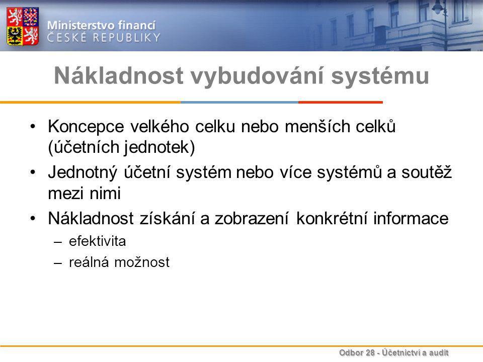Odbor 28 - Účetnictví a audit Nákladnost vybudování systému Koncepce velkého celku nebo menších celků (účetních jednotek) Jednotný účetní systém nebo více systémů a soutěž mezi nimi Nákladnost získání a zobrazení konkrétní informace –efektivita –reálná možnost