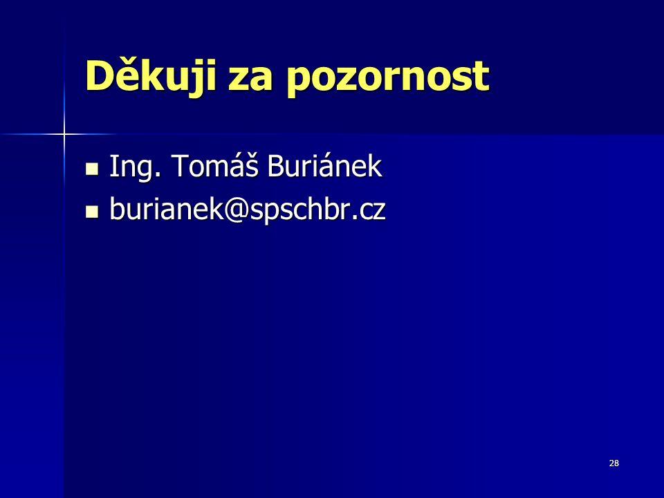 28 Děkuji za pozornost Ing. Tomáš Buriánek Ing. Tomáš Buriánek burianek@spschbr.cz burianek@spschbr.cz