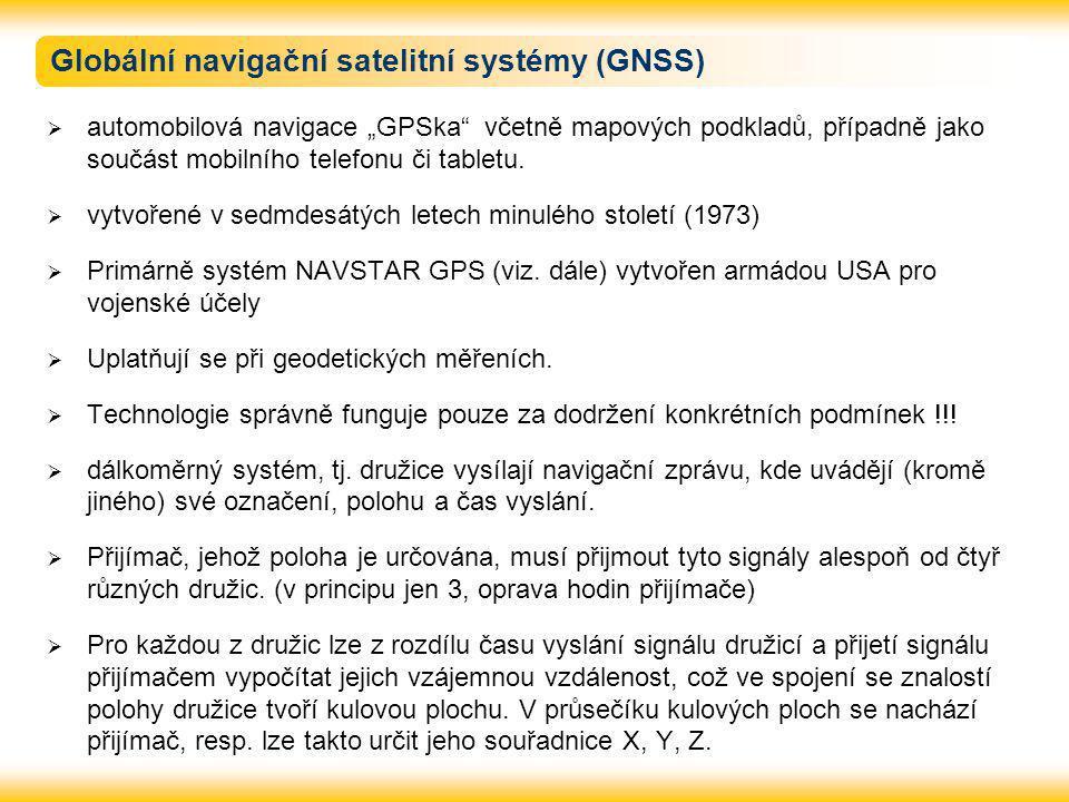 """Globální navigační satelitní systémy (GNSS)  automobilová navigace """"GPSka"""" včetně mapových podkladů, případně jako součást mobilního telefonu či tabl"""
