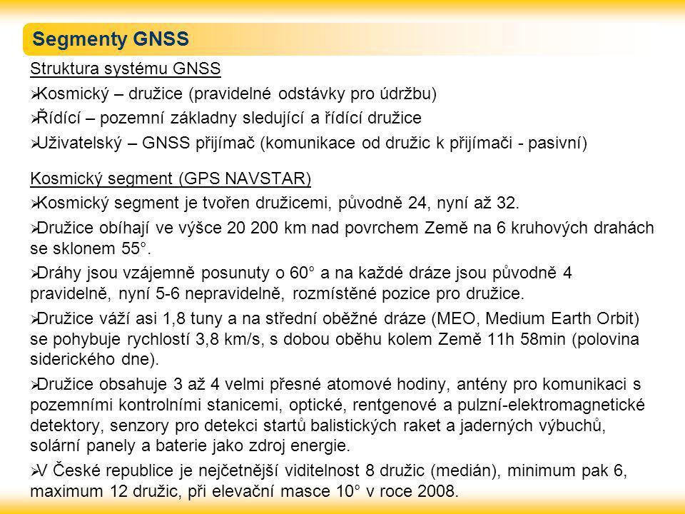 Segmenty GNSS Struktura systému GNSS  Kosmický – družice (pravidelné odstávky pro údržbu)  Řídící – pozemní základny sledující a řídící družice  Už
