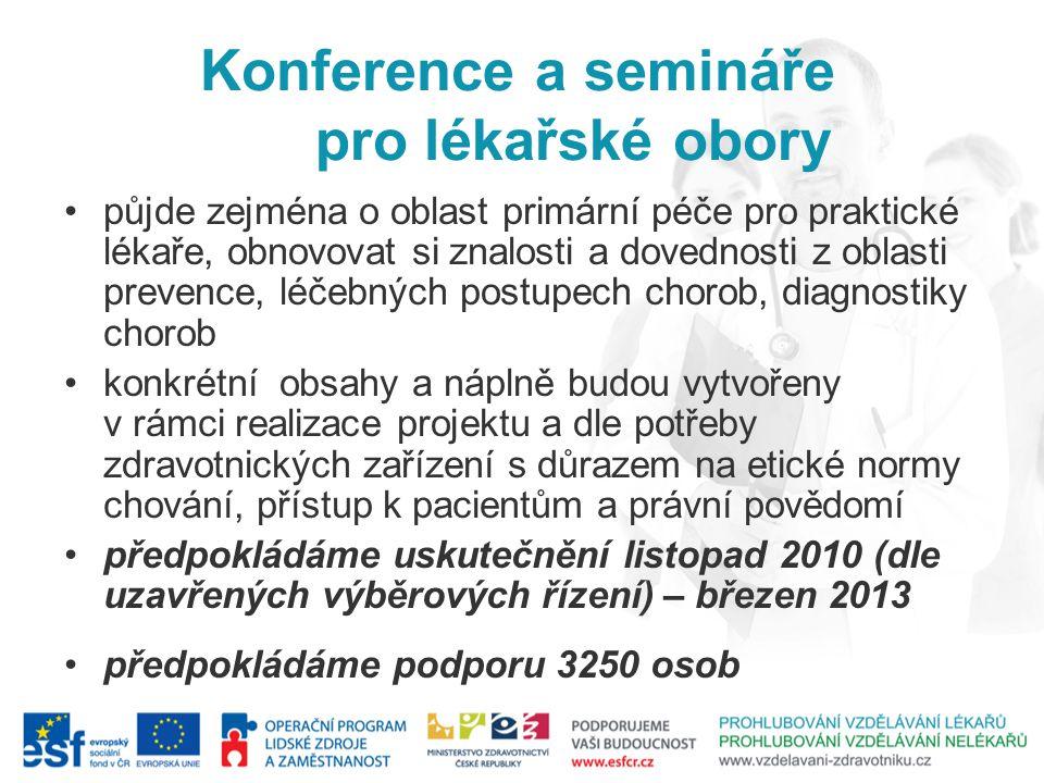 Konference a semináře pro lékařské obory půjde zejména o oblast primární péče pro praktické lékaře, obnovovat si znalosti a dovednosti z oblasti preve