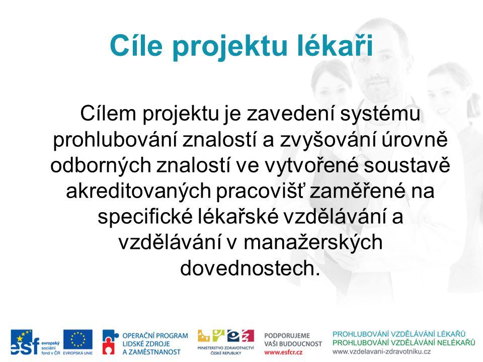 Cíle projektu lékaři Cílem projektu je zavedení systému prohlubování znalostí a zvyšování úrovně odborných znalostí ve vytvořené soustavě akreditovaný