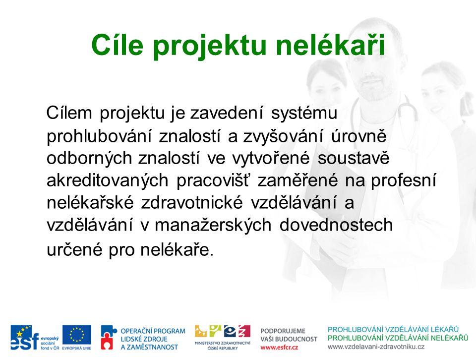 Cíle projektu nelékaři Cílem projektu je zavedení systému prohlubování znalostí a zvyšování úrovně odborných znalostí ve vytvořené soustavě akreditova