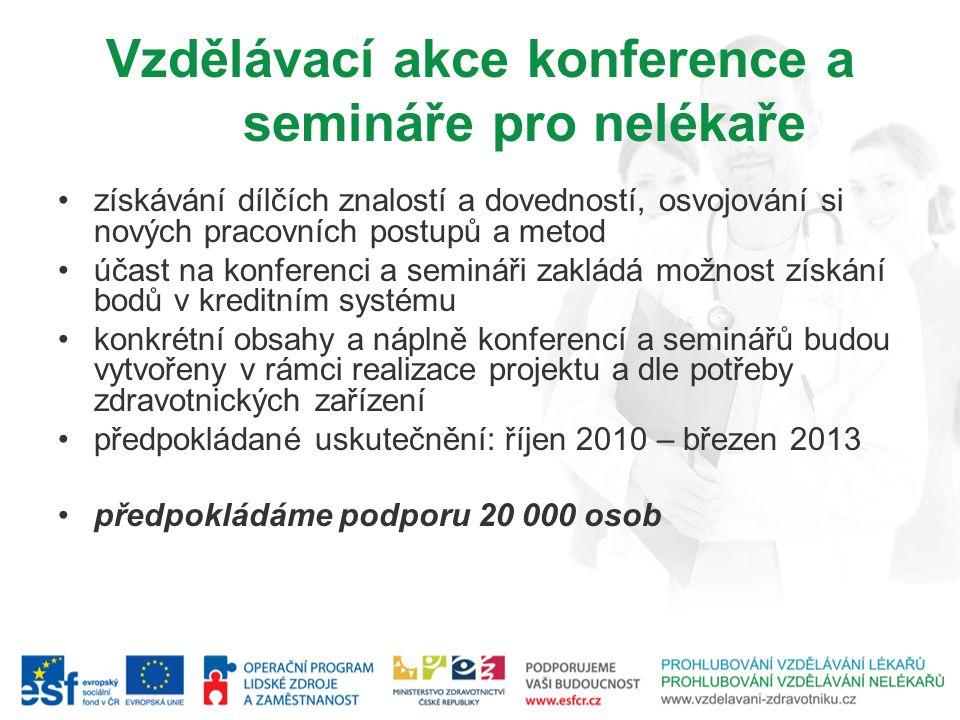Vzdělávací akce konference a semináře pro nelékaře získávání dílčích znalostí a dovedností, osvojování si nových pracovních postupů a metod účast na k