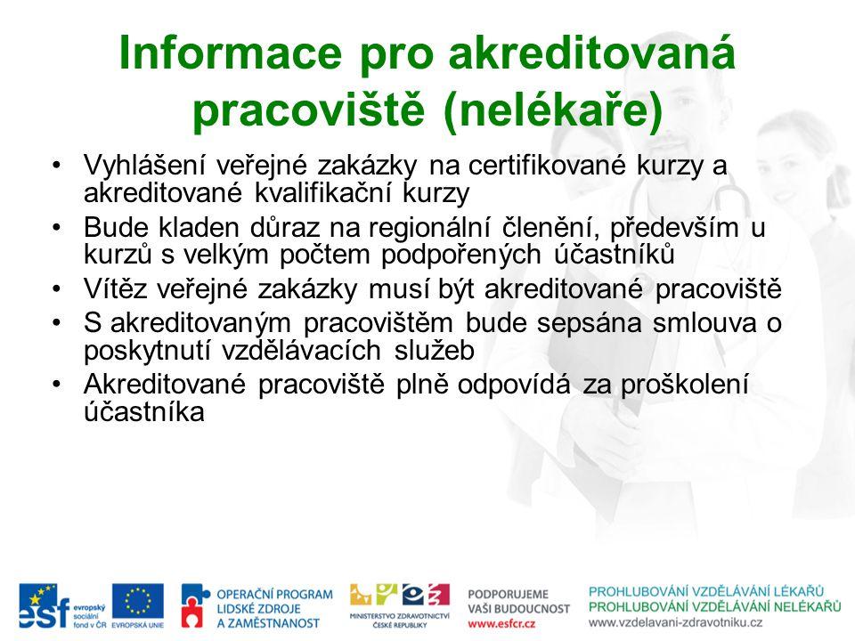 Informace pro akreditovaná pracoviště (nelékaře) Vyhlášení veřejné zakázky na certifikované kurzy a akreditované kvalifikační kurzy Bude kladen důraz
