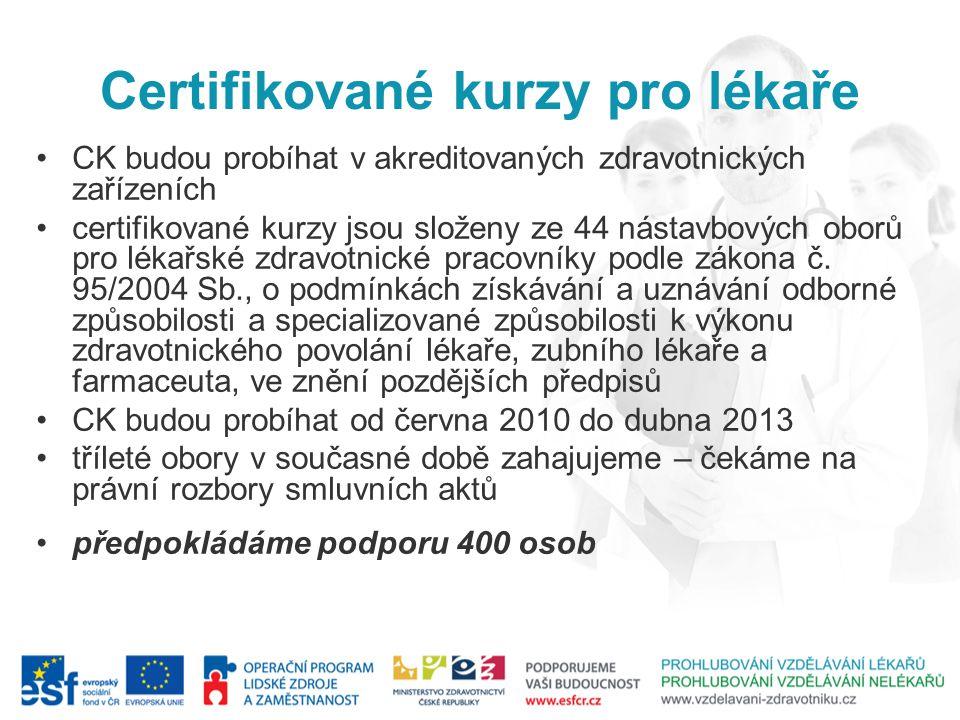 Certifikované kurzy pro lékaře CK budou probíhat v akreditovaných zdravotnických zařízeních certifikované kurzy jsou složeny ze 44 nástavbových oborů