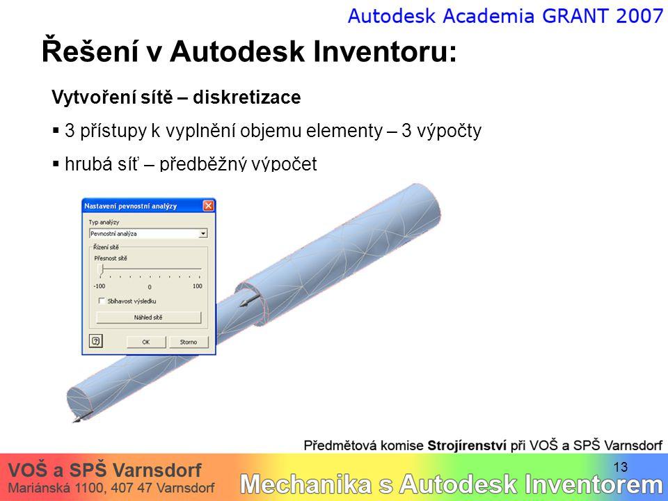13 Řešení v Autodesk Inventoru: Vytvoření sítě – diskretizace  3 přístupy k vyplnění objemu elementy – 3 výpočty  hrubá síť – předběžný výpočet