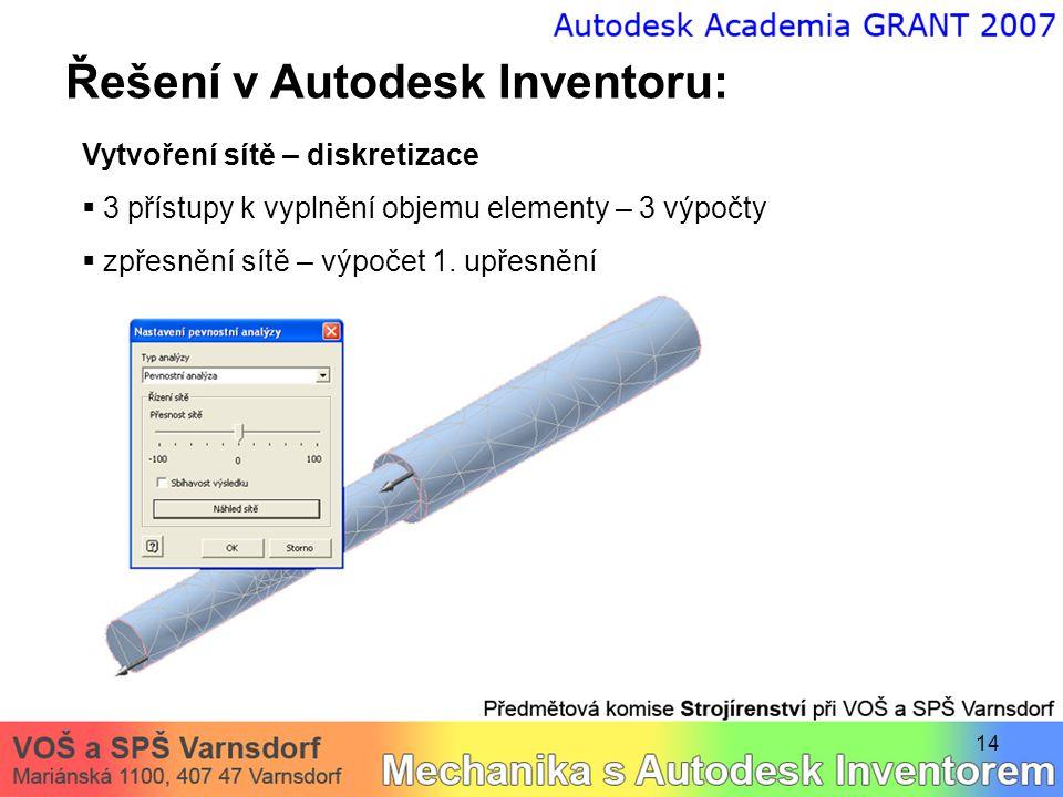 14 Řešení v Autodesk Inventoru: Vytvoření sítě – diskretizace  3 přístupy k vyplnění objemu elementy – 3 výpočty  zpřesnění sítě – výpočet 1.