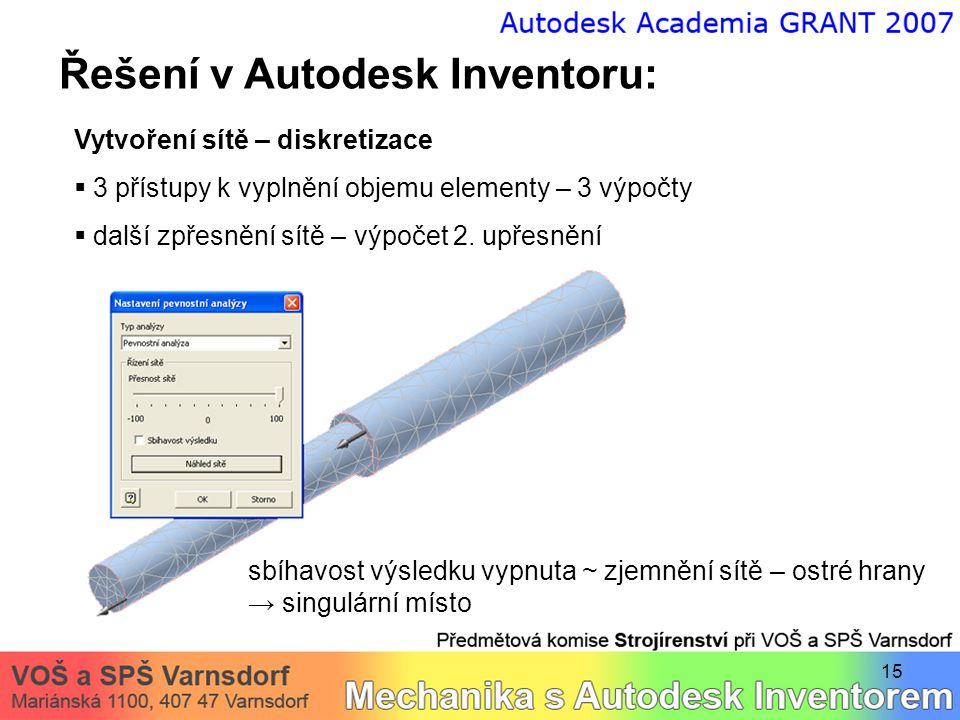 15 Řešení v Autodesk Inventoru: Vytvoření sítě – diskretizace  3 přístupy k vyplnění objemu elementy – 3 výpočty  další zpřesnění sítě – výpočet 2.