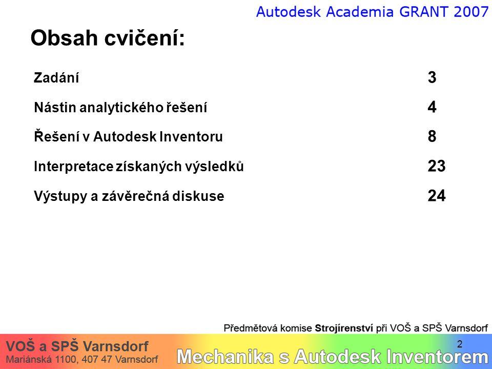 2 Obsah cvičení: Zadání 3 Nástin analytického řešení 4 Řešení v Autodesk Inventoru 8 Interpretace získaných výsledků 23 Výstupy a závěrečná diskuse 24