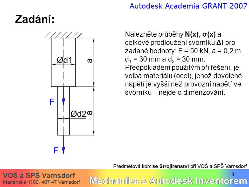 3 Zadání: Nalezněte průběhy N(x), σ(x) a celkové prodloužení svorníku Δl pro zadané hodnoty: F = 50 kN, a = 0,2 m, d 1 = 30 mm a d 2 = 30 mm.