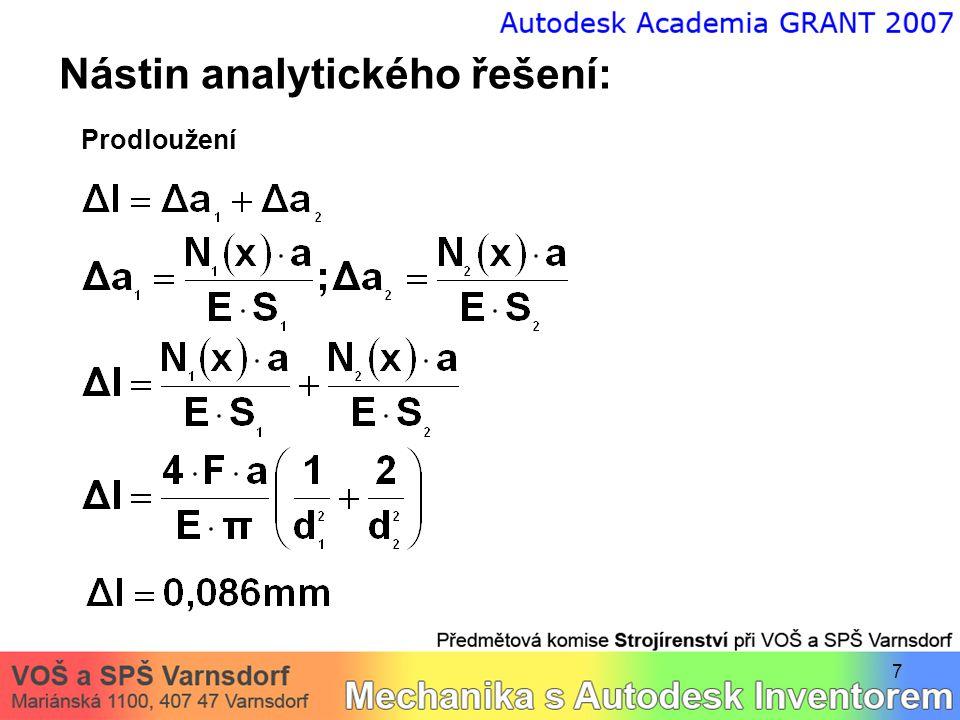 8 Řešení v Autodesk Inventoru:  vytvoření 3D geometrie (CAD data)  přepnutí do modulu MKP analýzy  definice okrajových podmínek (vazba vetknutí, zatížení silami)  vytvoření sítě – diskretizace  výpočet – proveden 3x (3 různé kvality sítě)  zásadní konvergence výsledků  generování výpočtových zpráv  interpretace získaných výstupů