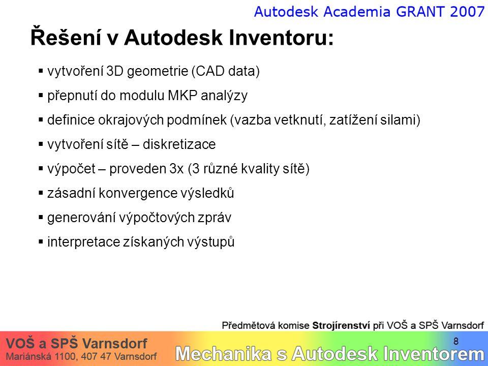 19 Řešení v Autodesk Inventoru: Interpretace získaných výstupů  maximální hlavní napětí - animace