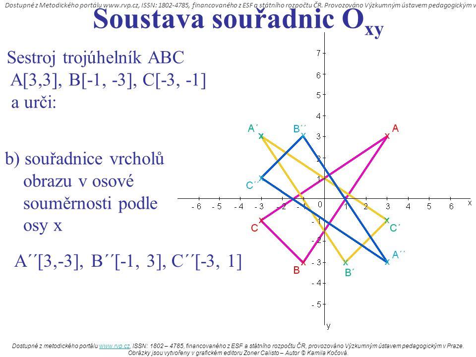 Soustava souřadnic O xy Sestroj trojúhelník ABC A[3,3], B[-1, -3], C[-3, -1] a urči: b) souřadnice vrcholů obrazu v osové souměrnosti podle osy x A´´[