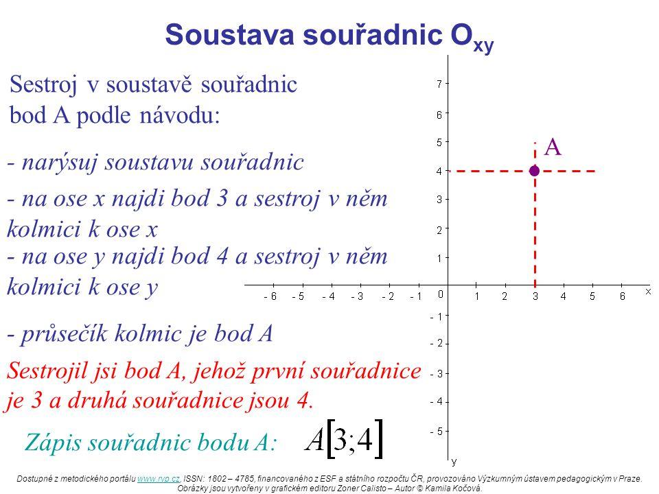 Soustava souřadnic O xy Sestroj v soustavě souřadnic bod A podle návodu: - narýsuj soustavu souřadnic - na ose x najdi bod 3 a sestroj v něm kolmici k