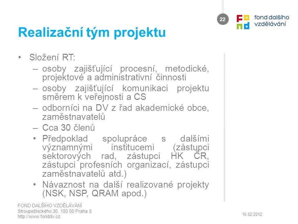 Realizační tým projektu Složení RT: –osoby zajišťující procesní, metodické, projektové a administrativní činnosti –osoby zajišťující komunikaci projek