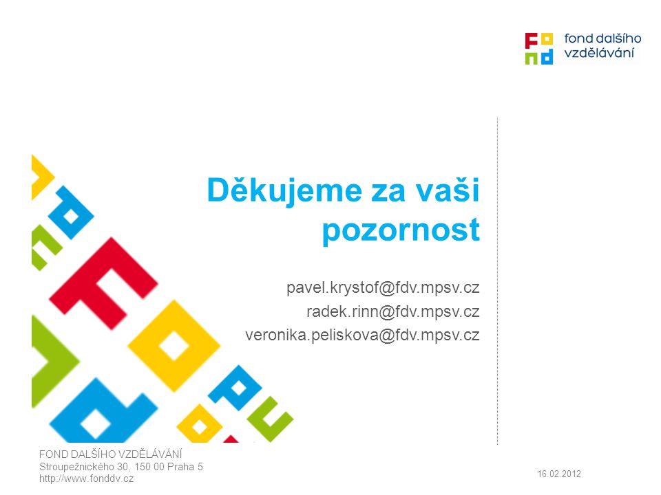 Děkujeme za vaši pozornost pavel.krystof@fdv.mpsv.cz radek.rinn@fdv.mpsv.cz veronika.peliskova@fdv.mpsv.cz FOND DALŠÍHO VZDĚLÁVÁNÍ Stroupežnického 30,