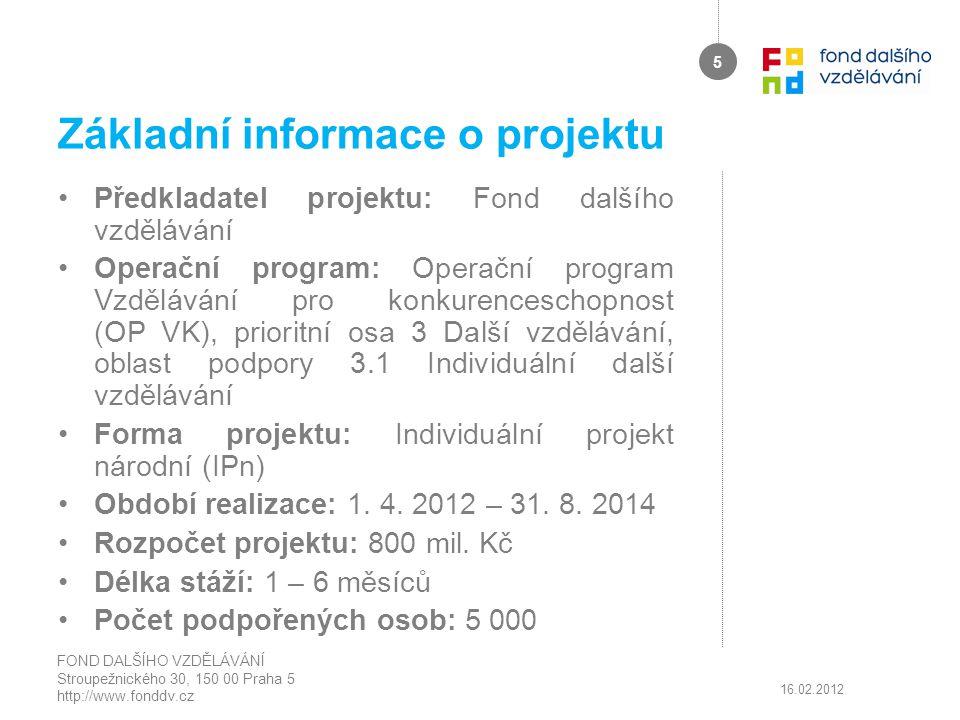 Základní informace o projektu Předkladatel projektu: Fond dalšího vzdělávání Operační program: Operační program Vzdělávání pro konkurenceschopnost (OP