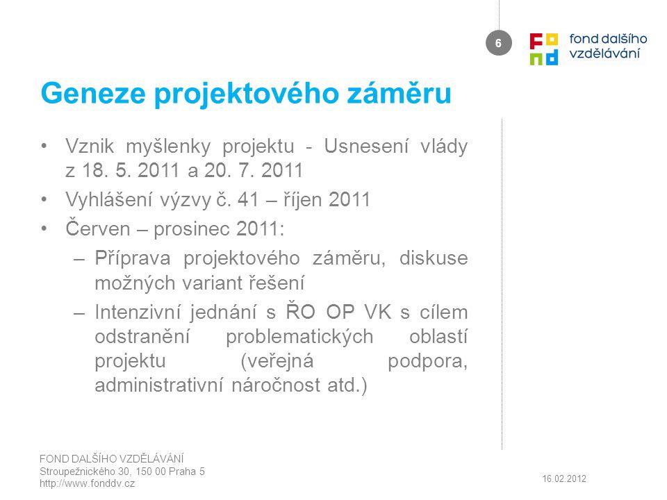 Geneze projektového záměru Vznik myšlenky projektu - Usnesení vlády z 18. 5. 2011 a 20. 7. 2011 Vyhlášení výzvy č. 41 – říjen 2011 Červen – prosinec 2