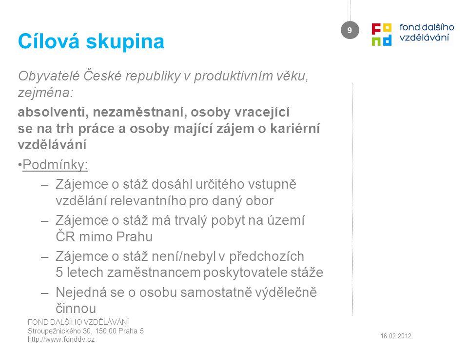 Cílová skupina Obyvatelé České republiky v produktivním věku, zejména: absolventi, nezaměstnaní, osoby vracející se na trh práce a osoby mající zájem