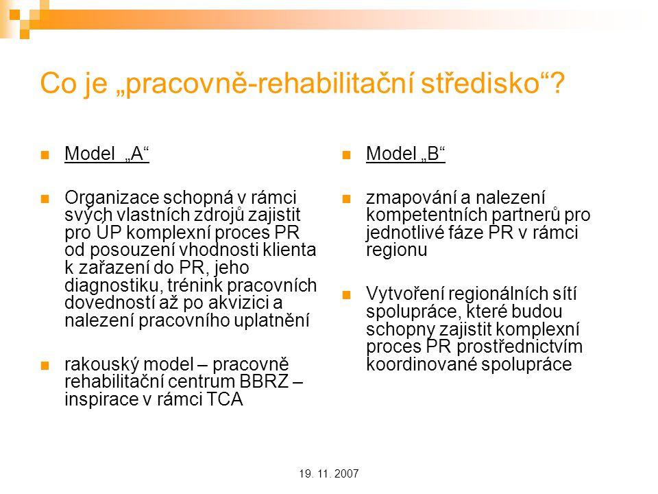 """19. 11. 2007 Co je """"pracovně-rehabilitační středisko ."""
