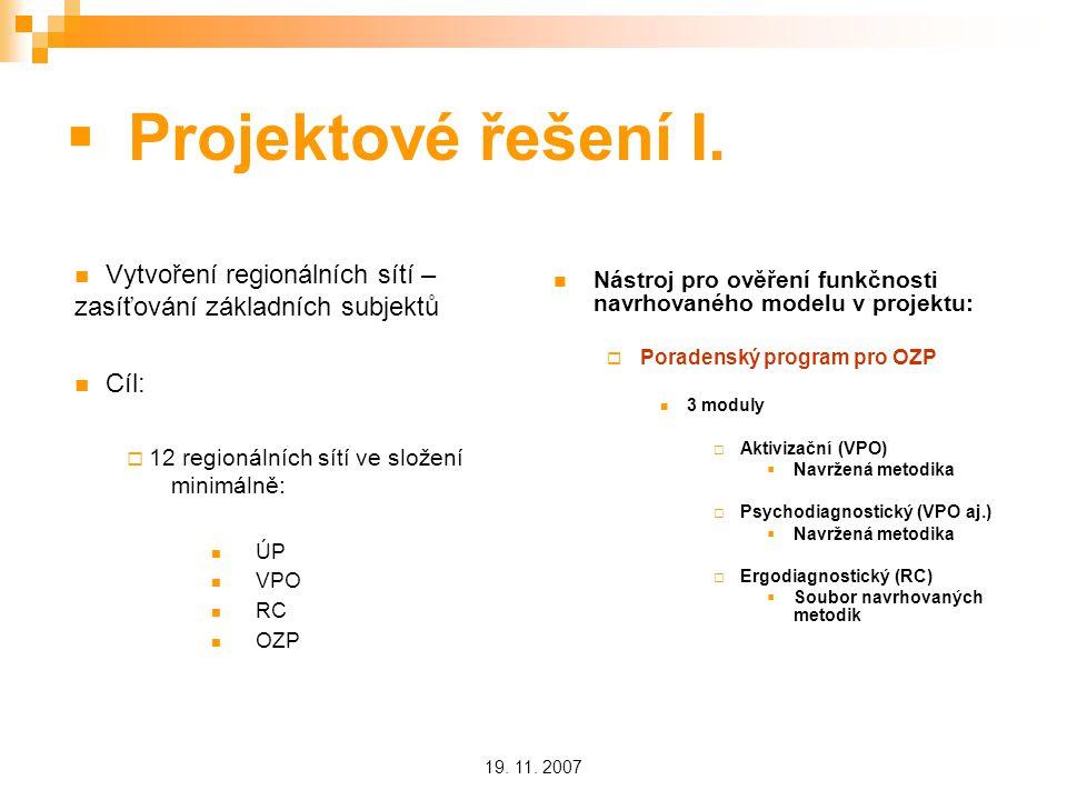 19. 11. 2007  Projektové řešení I.