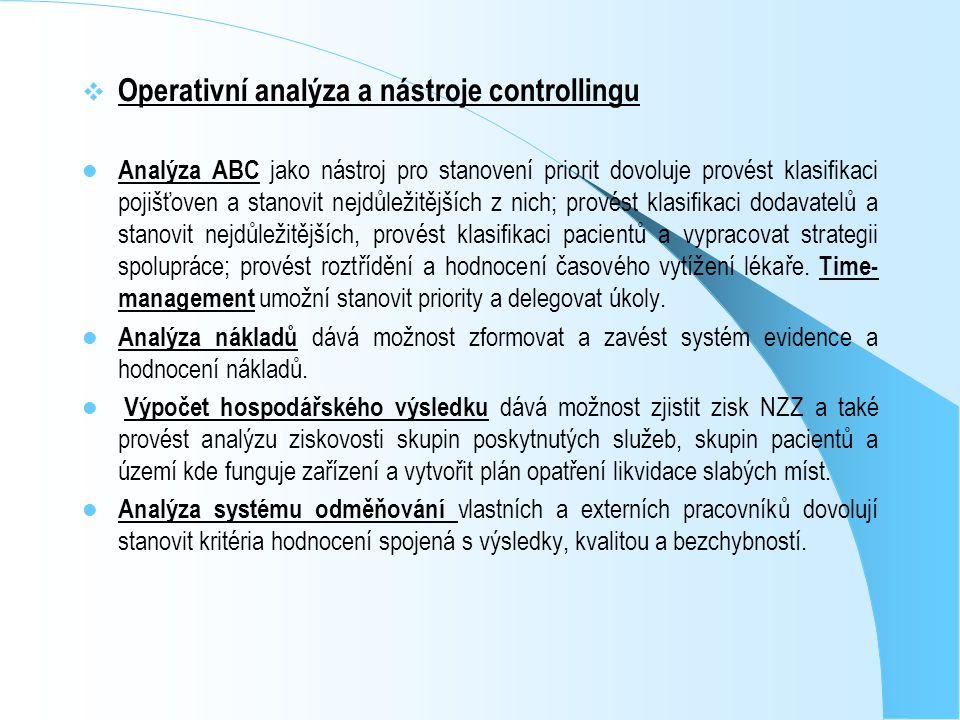  Operativní analýza a nástroje controllingu Analýza ABC jako nástroj pro stanovení priorit dovoluje provést klasifikaci pojišťoven a stanovit nejdůle