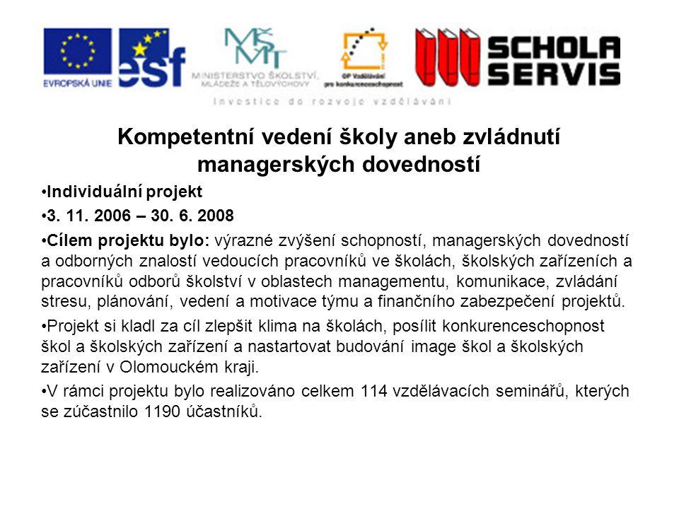 Kompetentní vedení školy aneb zvládnutí managerských dovedností Individuální projekt 3.