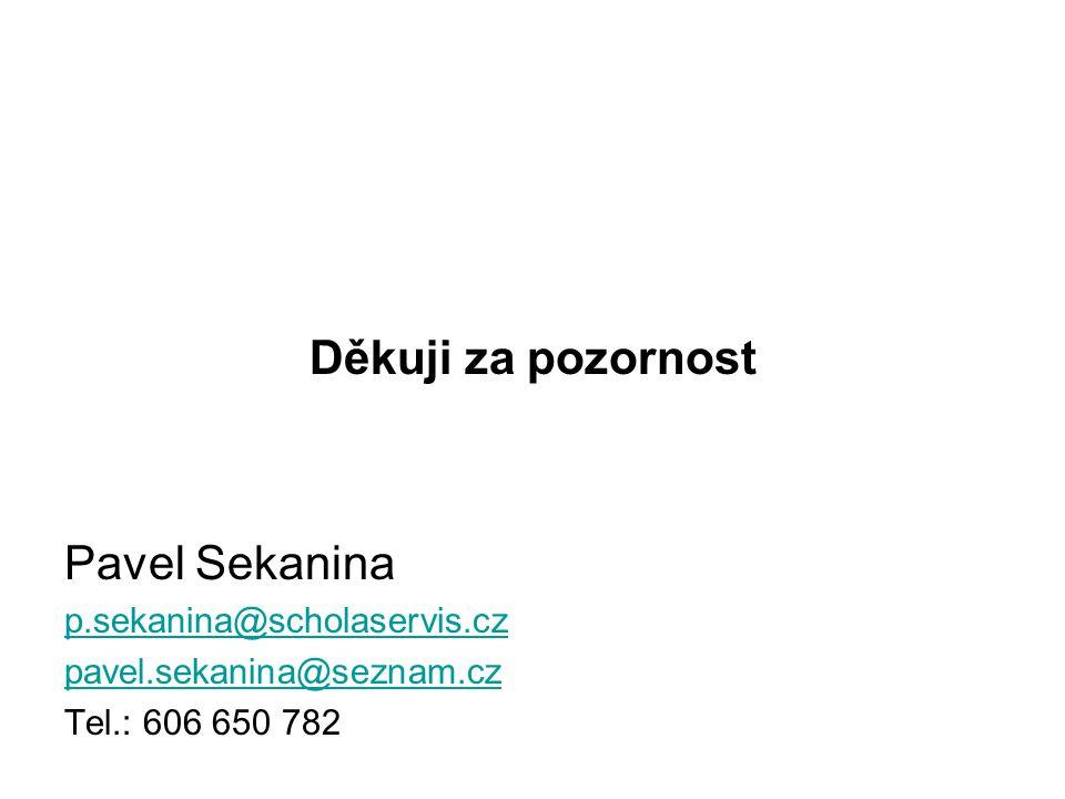 Děkuji za pozornost Pavel Sekanina p.sekanina@scholaservis.cz pavel.sekanina@seznam.cz Tel.: 606 650 782