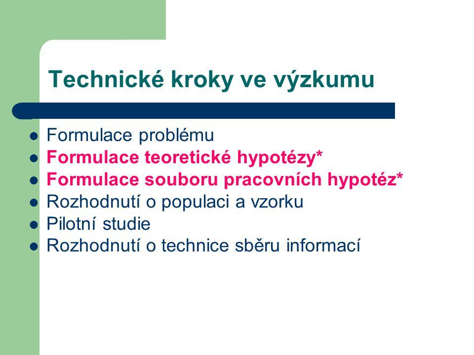 Technické kroky ve výzkumu Konstrukce nástrojů Předvýzkum Sběr dat Analýza dat Interpretace, závěry, teoretické zdůvodnění (Disman, 2000) *Toto je charakteristické pro kvantitativní výzkum, v kvalitativním pracujeme s výzkumnými otázkami
