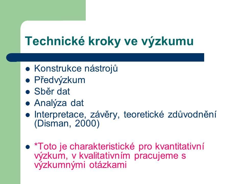 Technické kroky ve výzkumu Konstrukce nástrojů Předvýzkum Sběr dat Analýza dat Interpretace, závěry, teoretické zdůvodnění (Disman, 2000) *Toto je cha