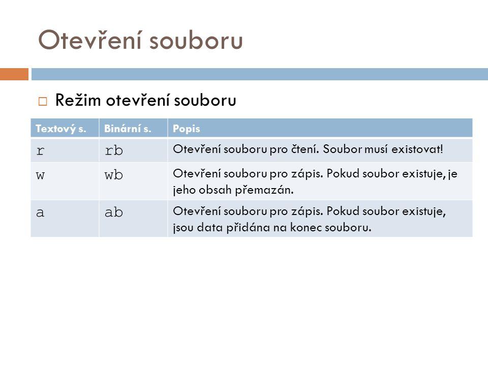 Otevření souboru  Režim otevření souboru Textový s.Binární s.Popis r+r+b Otevření souboru pro čtení a zápis.