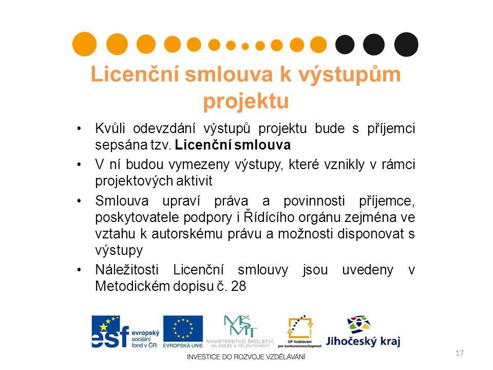 Licenční smlouva k výstupům projektu Kvůli odevzdání výstupů projektu bude s příjemci sepsána tzv. Licenční smlouva V ní budou vymezeny výstupy, které