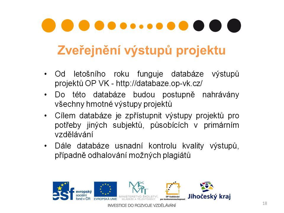 Zveřejnění výstupů projektu Od letošního roku funguje databáze výstupů projektů OP VK - http://databaze.op-vk.cz/ Do této databáze budou postupně nahr