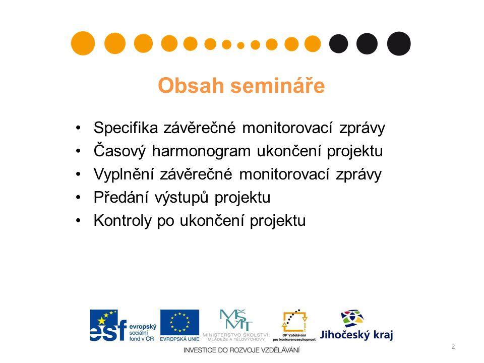 Obsah semináře Specifika závěrečné monitorovací zprávy Časový harmonogram ukončení projektu Vyplnění závěrečné monitorovací zprávy Předání výstupů pro