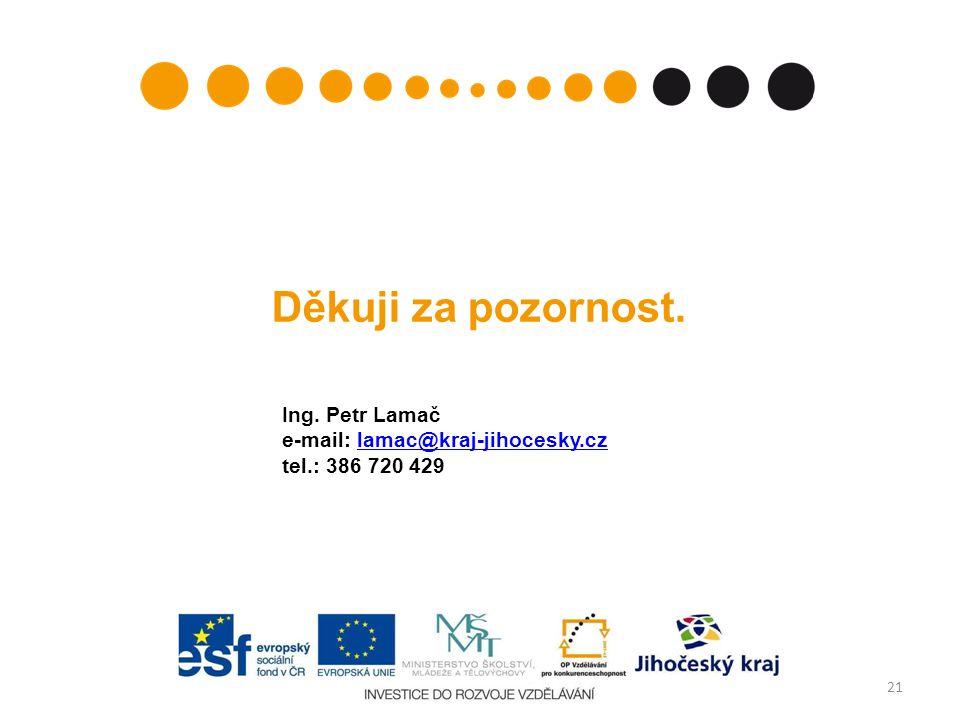 Děkuji za pozornost. 21 Ing. Petr Lamač e-mail: lamac@kraj-jihocesky.czlamac@kraj-jihocesky.cz tel.: 386 720 429