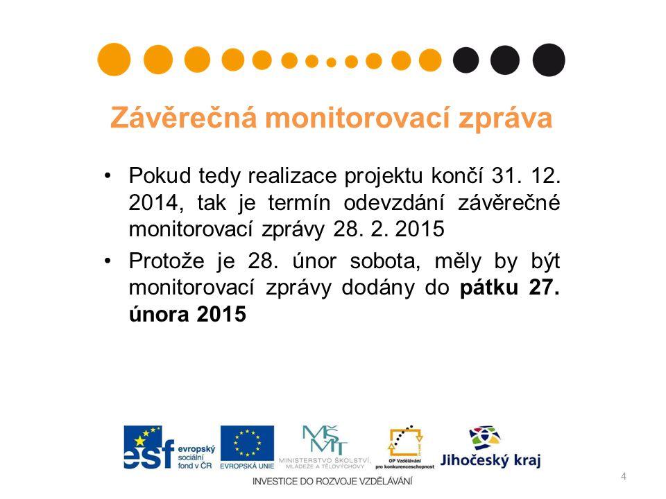 Závěrečná monitorovací zpráva Pokud tedy realizace projektu končí 31. 12. 2014, tak je termín odevzdání závěrečné monitorovací zprávy 28. 2. 2015 Prot