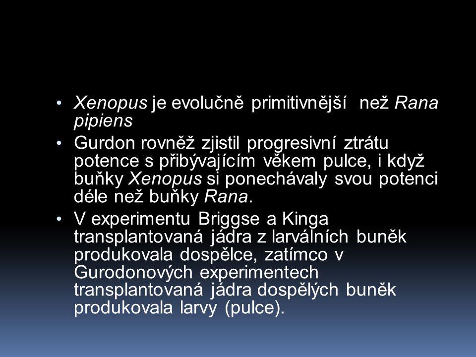 Xenopus je evolučně primitivnější než Rana pipiens Gurdon rovněž zjistil progresivní ztrátu potence s přibývajícím věkem pulce, i když buňky Xenopus si ponechávaly svou potenci déle než buňky Rana.