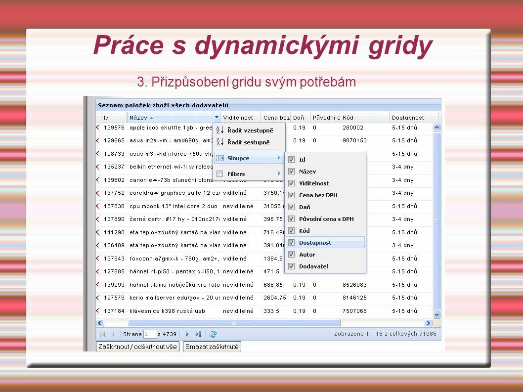 Práce s dynamickými gridy 3. Přizpůsobení gridu svým potřebám