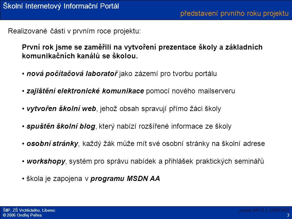 Školní Internetový Informační Portál ŠIIP, ZŠ Vrchlického, Liberec © 2006 Ondřej Peřina představení prvního roku projektu projekt SIPVZ č. 0358P2005 3