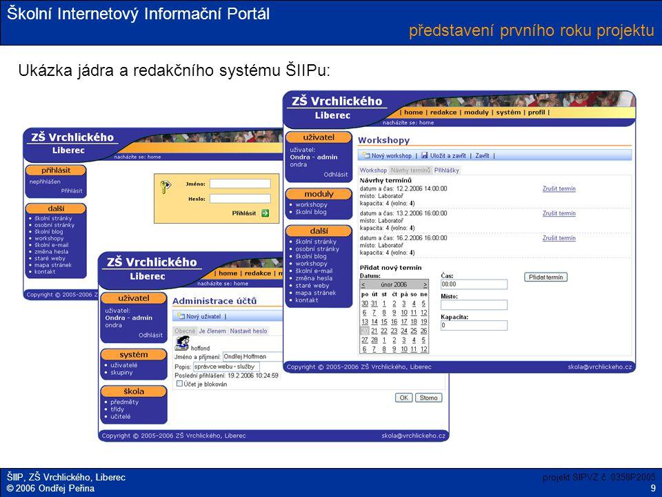 Školní Internetový Informační Portál ŠIIP, ZŠ Vrchlického, Liberec © 2006 Ondřej Peřina představení prvního roku projektu projekt SIPVZ č. 0358P2005 9
