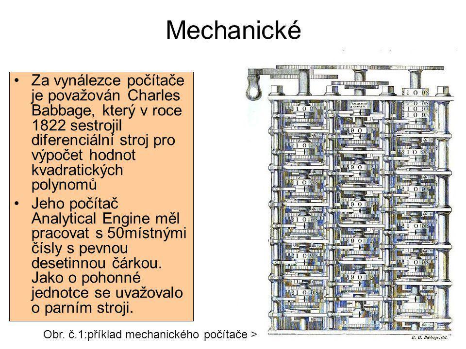 Mechanické Za vynálezce počítače je považován Charles Babbage, který v roce 1822 sestrojil diferenciální stroj pro výpočet hodnot kvadratických polyno
